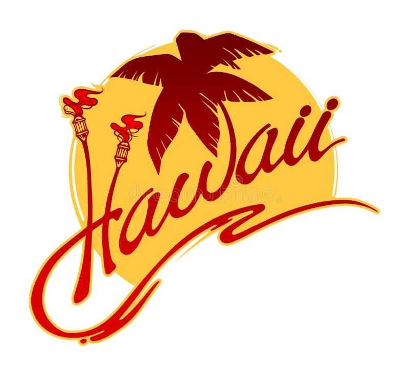 有棕榈树、灼烧的火炬、风格化海浪和太阳的夏威夷 库存例证