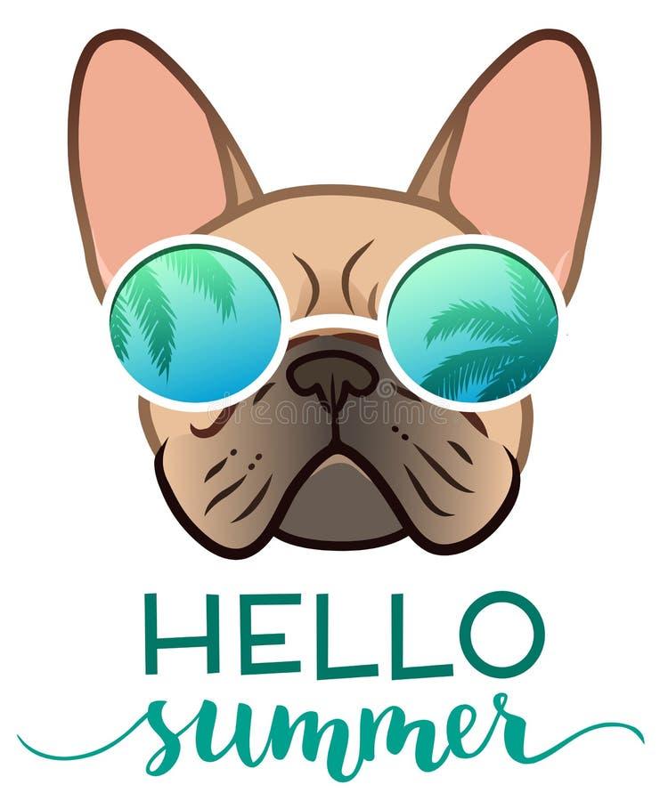 有棕榈树反射的法国牛头犬佩带的镜子太阳镜,与你好夏天文本传染媒介例证 滑稽的宠物, 向量例证