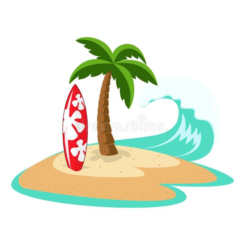 有棕榈树和冲浪板的海岛 皇族释放例证