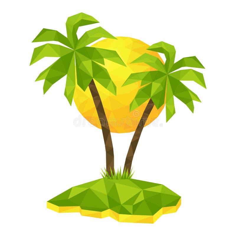 有棕榈树和太阳的海岛 皇族释放例证