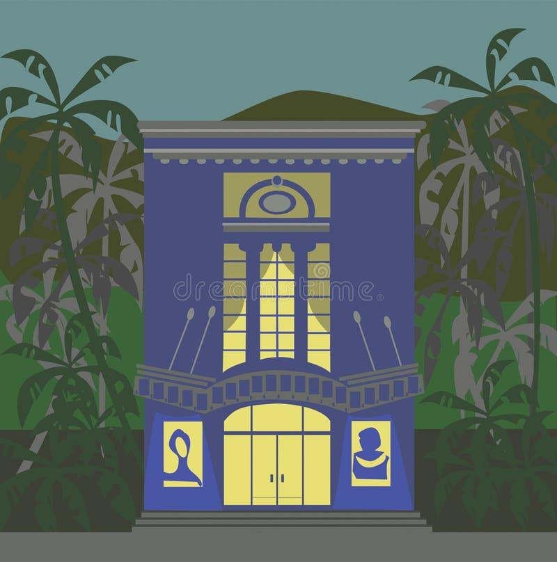 有棕榈树围拢的大门罩的蓝色剧院 皇族释放例证