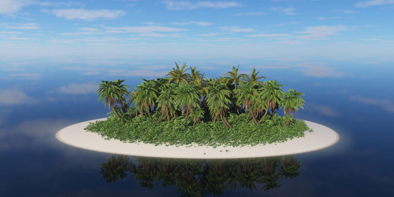有棕榈树的偏僻的热带海岛 免版税库存图片