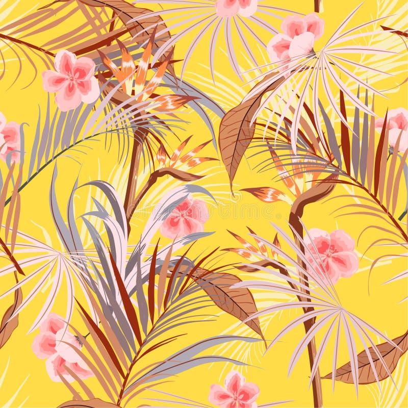 有棕榈树的夏天明亮的减速火箭的热带狂放的森林,花 向量例证
