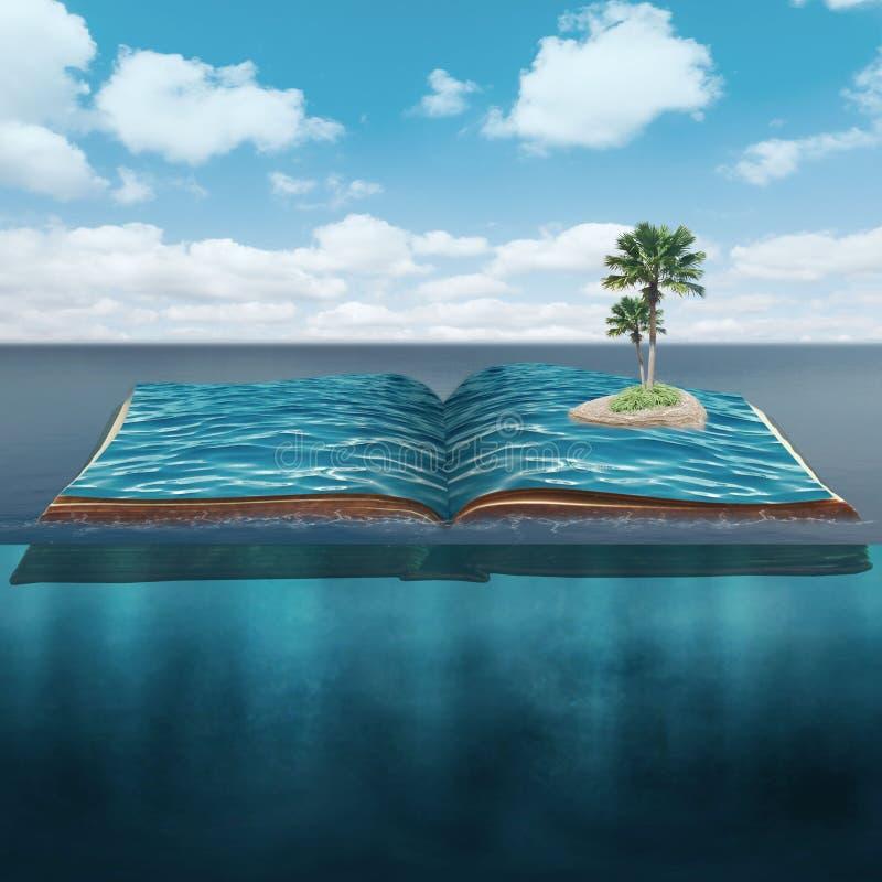 有棕榈树的海岛在开放书在海浸入了 库存照片