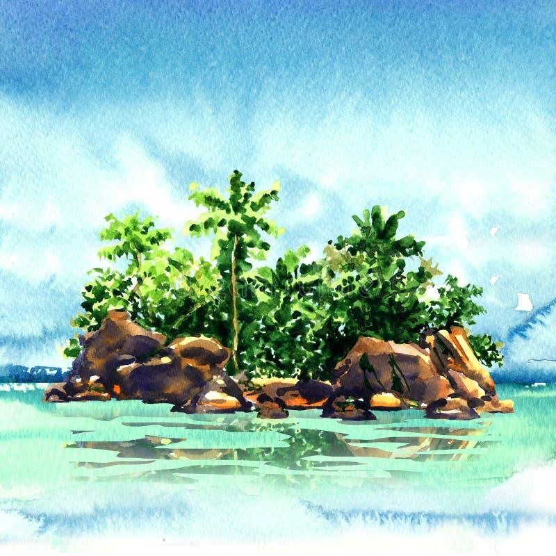 有棕榈树的,从海, Maldivian环礁的岩石惊人的热带海岛在海洋,全景,水彩例证 向量例证