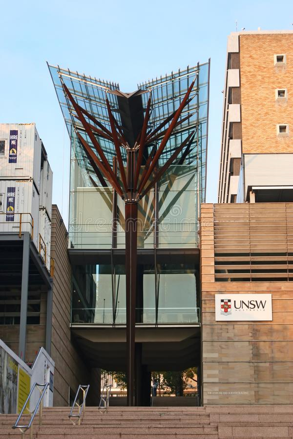 有棕色木材专栏和树枝的现代V形的玻璃机盖在约翰Niland Scientia大厦的台阶在UNSW校园里 免版税库存照片
