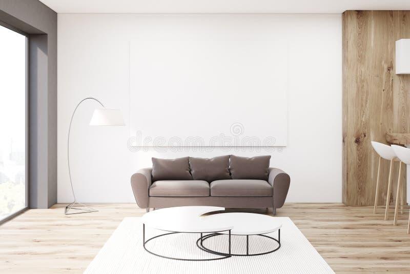 有棕色沙发的客厅 向量例证
