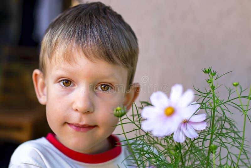 有棕色眼睛的男孩在花 免版税库存照片