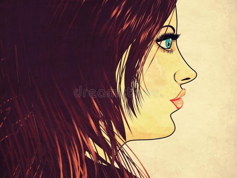 有棕色头发的难看的东西女孩 向量例证