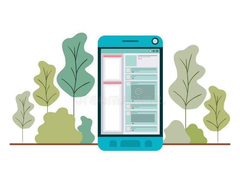 有森林风景的智能手机 库存例证