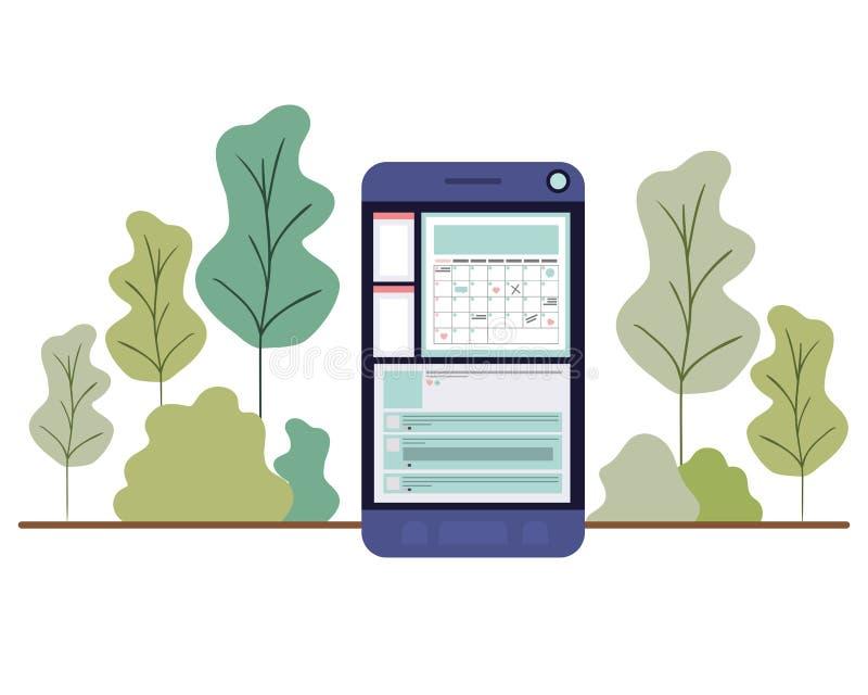 有森林风景的智能手机 向量例证