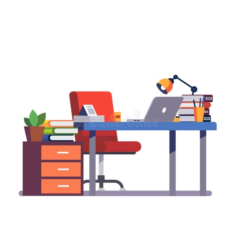 有椅子、计算机和铅笔杯子的办公桌 向量例证