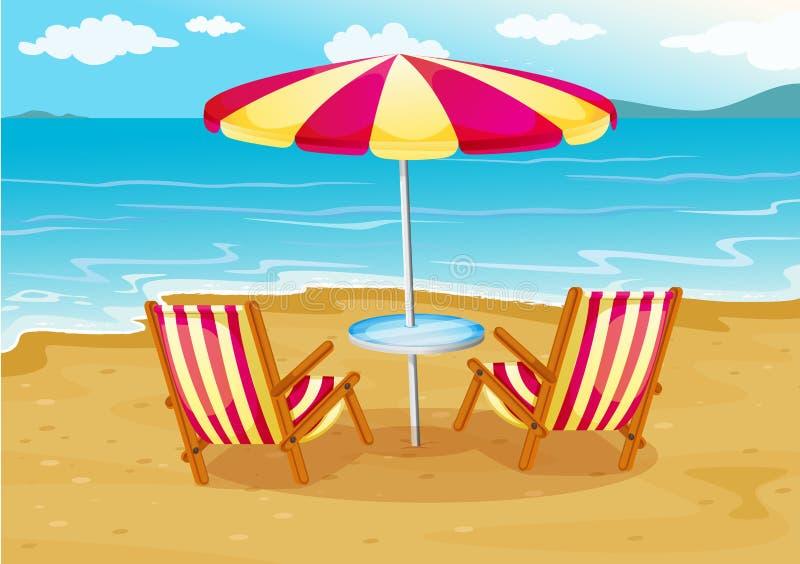 有椅子的一把沙滩伞在海滨 向量例证