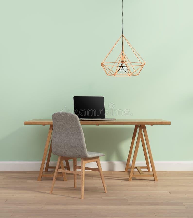 有椅子的典雅的薄荷的颜色办公室 免版税库存照片