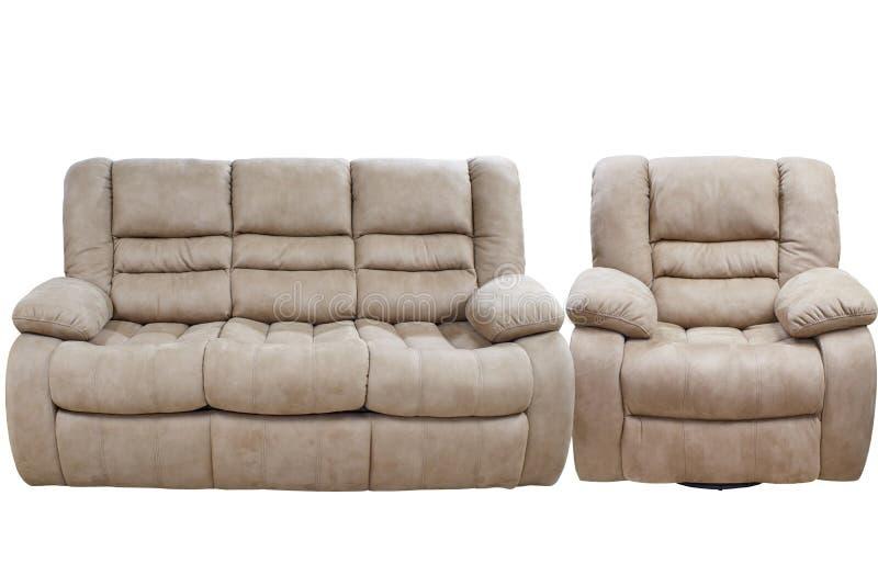 有椅子的现代三倍舒适织品沙发 库存照片