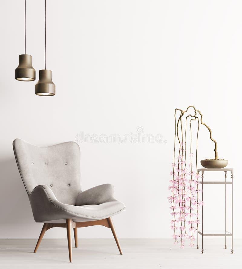 有椅子的空的在桌,简单派顶楼内部背景上的墙壁&植物 库存例证