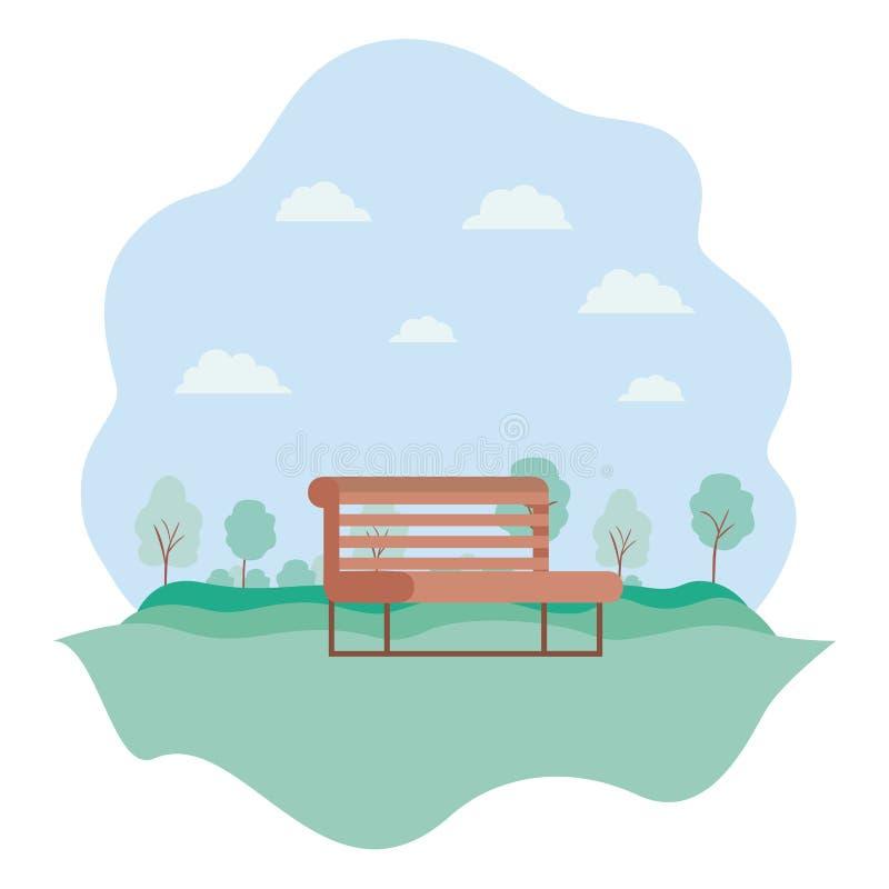 有椅子风景自然场面的公园 皇族释放例证