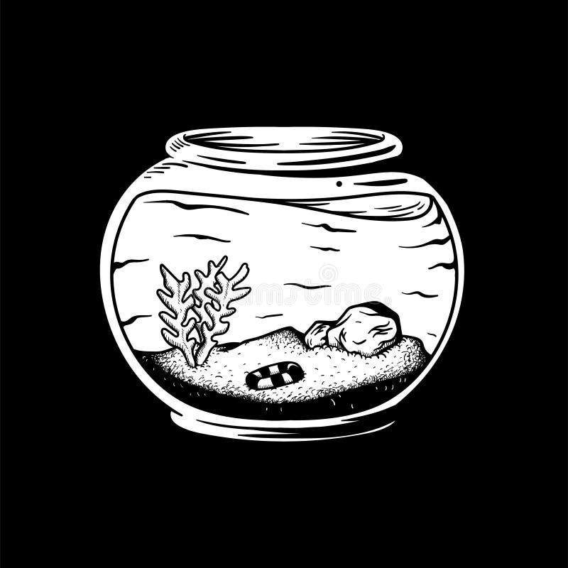 有植物和没有鱼的空的水族馆 皇族释放例证