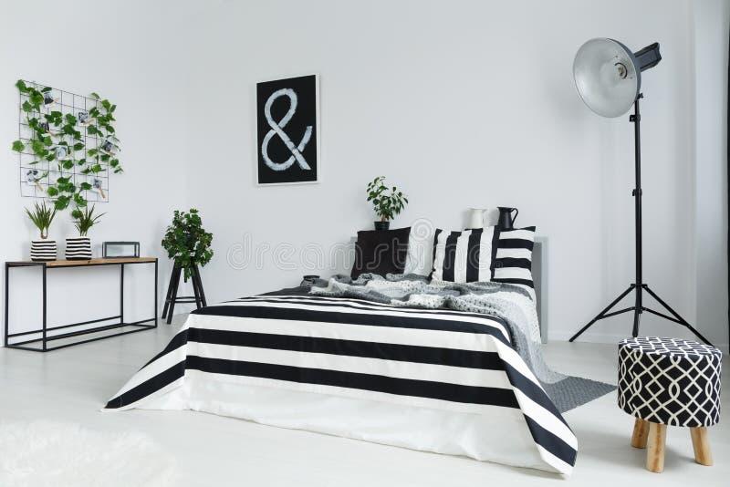有植物和灯的卧室 免版税库存照片
