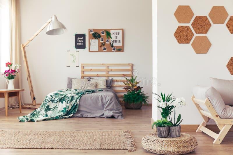 有植物和黄柏的卧室 免版税库存照片