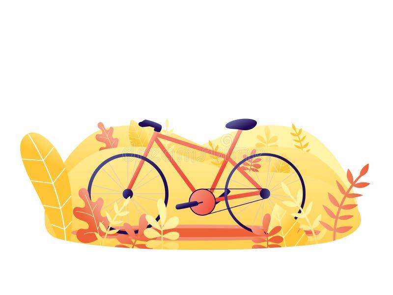 有植物的自行车 橙色自行车在公园 在白色隔绝的平的传染媒介例证 免版税库存照片
