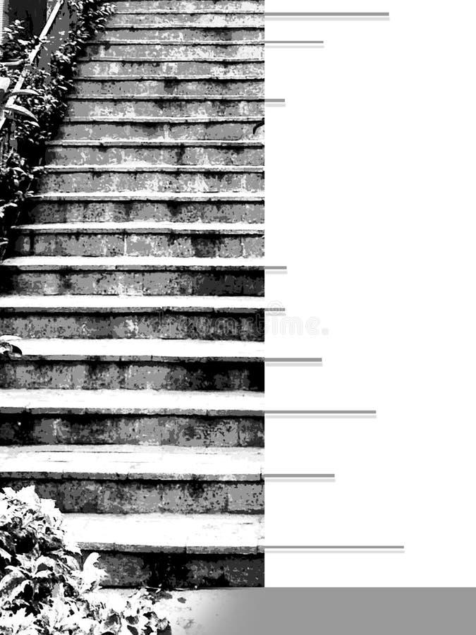 有楼梯台阶的Ebook盖子在graytones的 库存图片