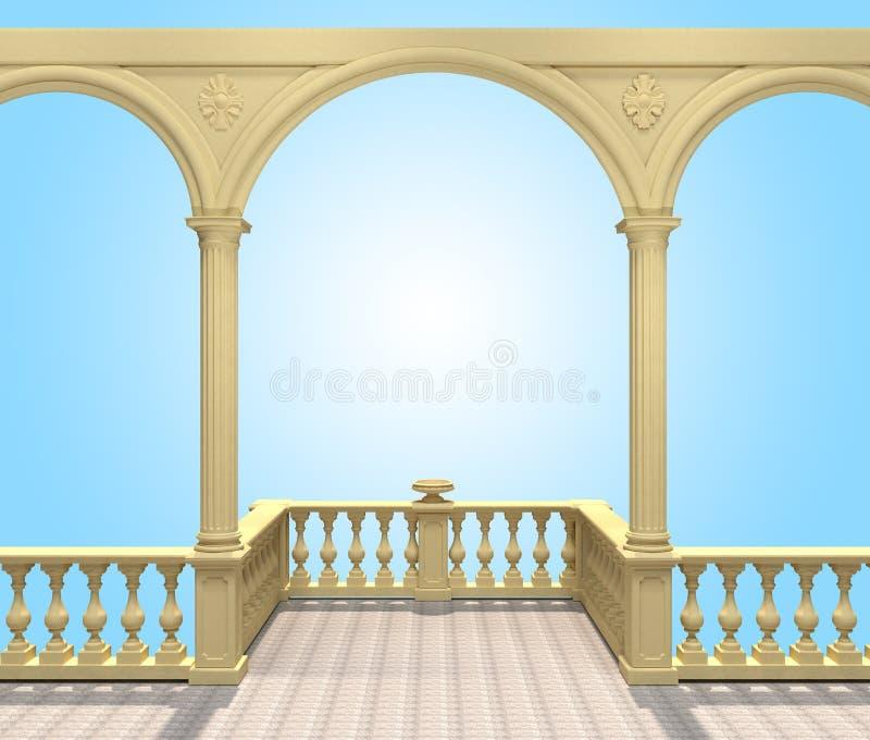 有楼梯栏杆、专栏、曲拱和花瓶的, 3D阳台翻译 皇族释放例证