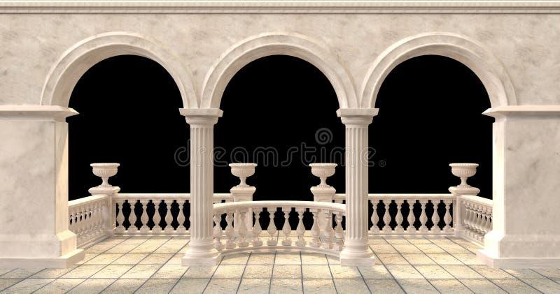 有楼梯栏杆和花瓶的被成拱形的阳台在黑背景 皇族释放例证