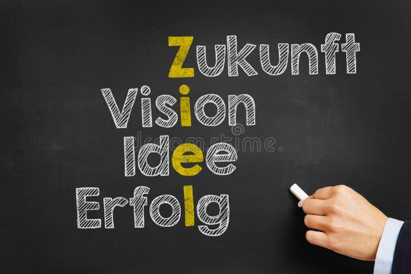 有概念的黑板用目标的德语 免版税库存照片