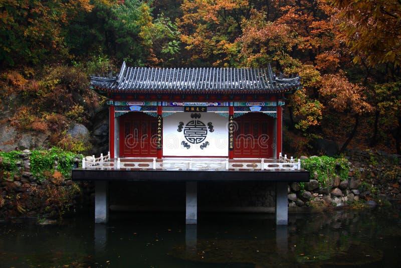 有槭树的寺庙 免版税库存图片
