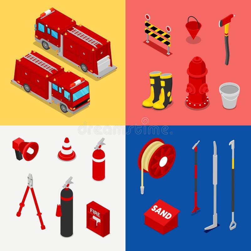 有槽车和消防栓的等量消防员设备 向量例证