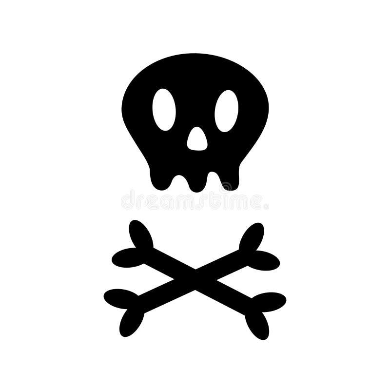 有横向骨头象形状的头骨 白色两骨交叉图形 最基本的身体局部 愉快的万圣夜标志标志 逗人喜爱的动画片简单的轮藻属 皇族释放例证