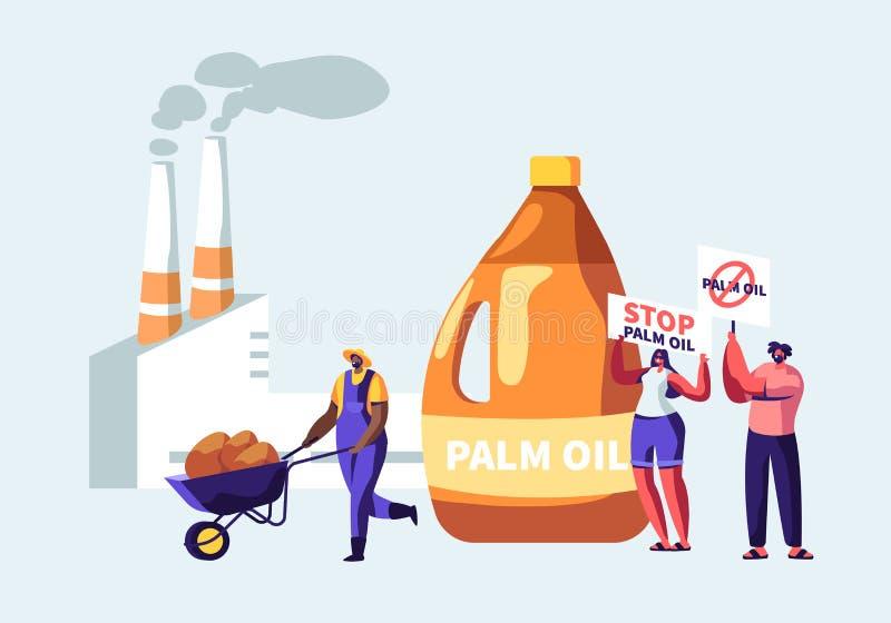 有横幅的中止棕榈产石油的产业禁止的,有原料的,有管子的加工厂工作者抗议者 皇族释放例证