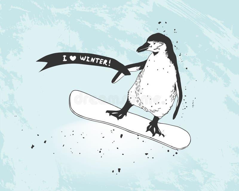有横幅的企鹅挡雪板 向量例证