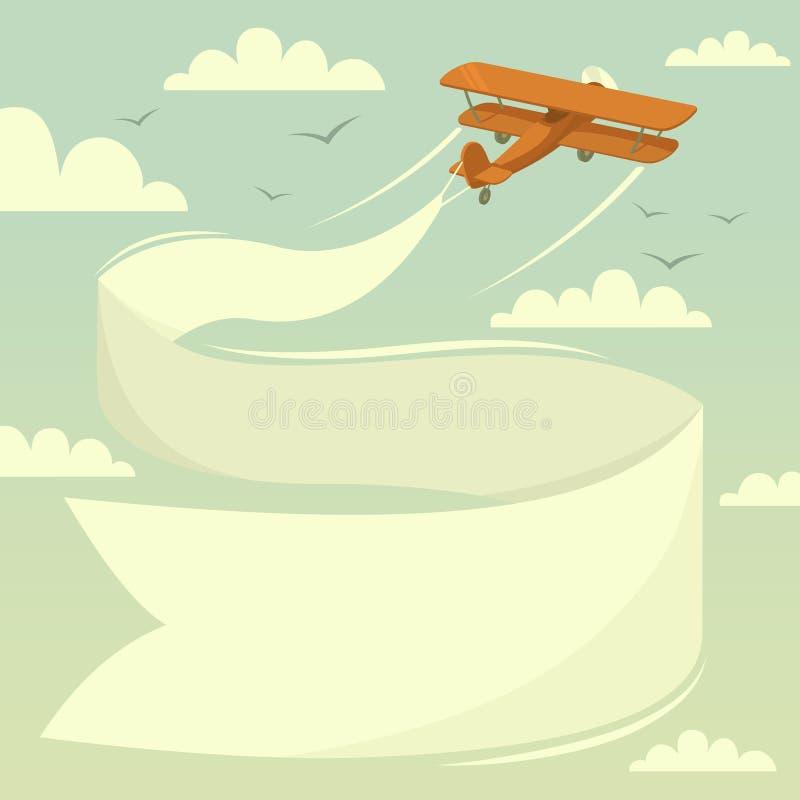 有横幅的双翼飞机 向量例证