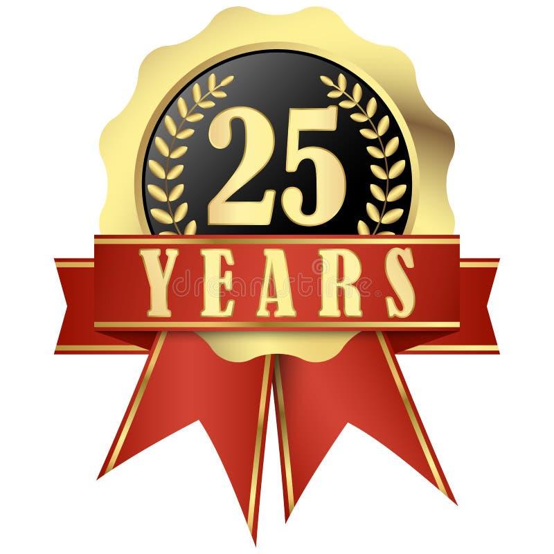 有横幅的周年纪念按钮和丝带25年 向量例证