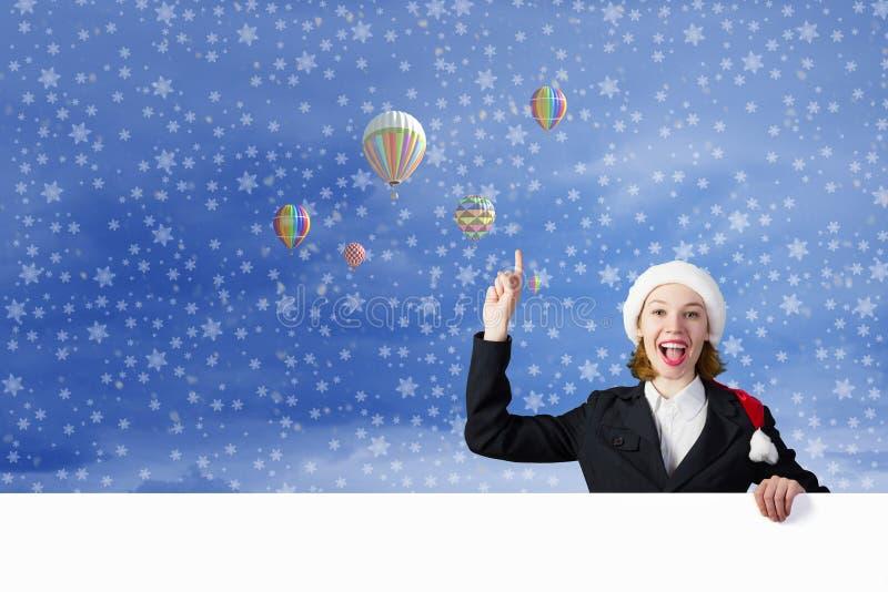 有横幅的圣诞老人妇女 免版税库存照片