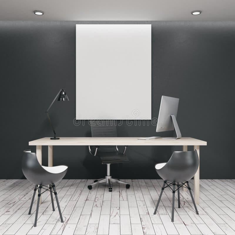 有横幅的现代办公室工作场所 向量例证