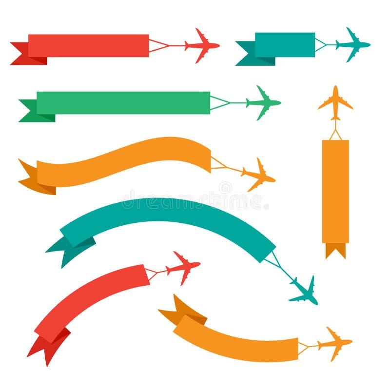 有横幅的,在白色背景设置了,五颜六色隔绝的象飞行的飞机,传染媒介例证 皇族释放例证