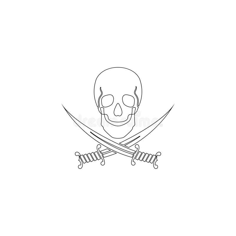 有横渡的军刀的黑头骨 平的传染媒介象 皇族释放例证