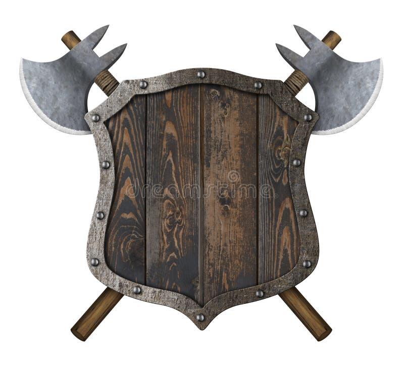 有横渡的战斧3d例证的木中世纪纹章学盾 库存例证