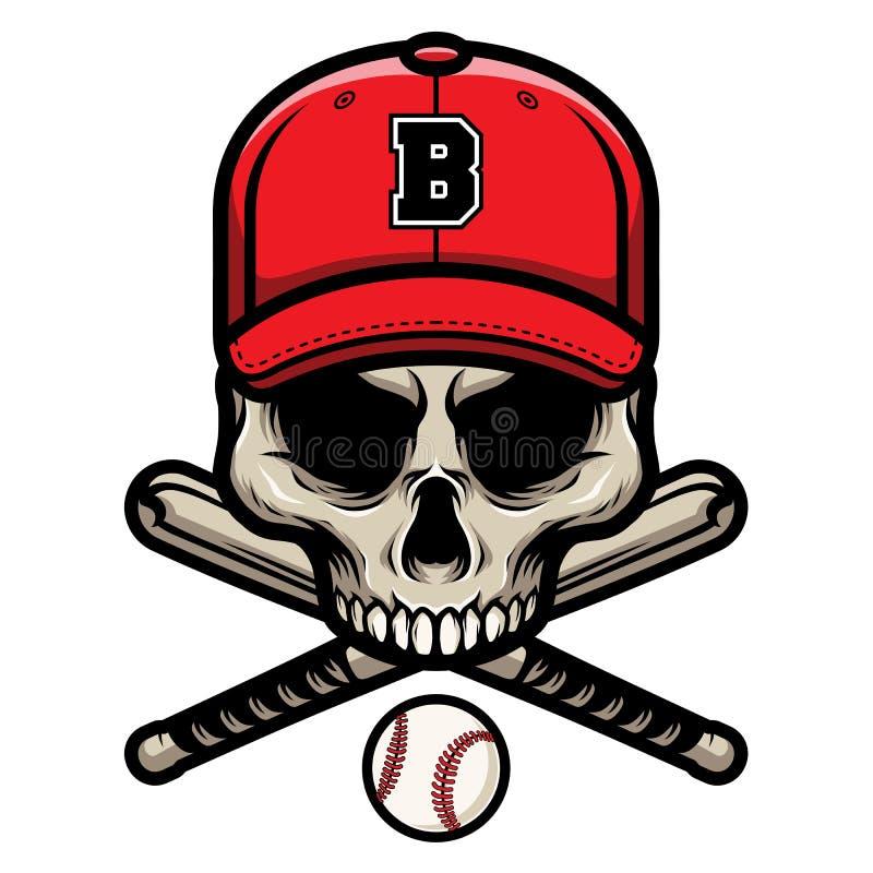 有横渡的棒球棒和佩带的盖帽商标徽章头骨 向量例证