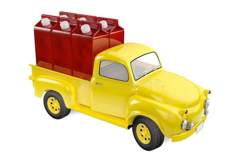 有樱桃汁包装的小卡车  向量例证