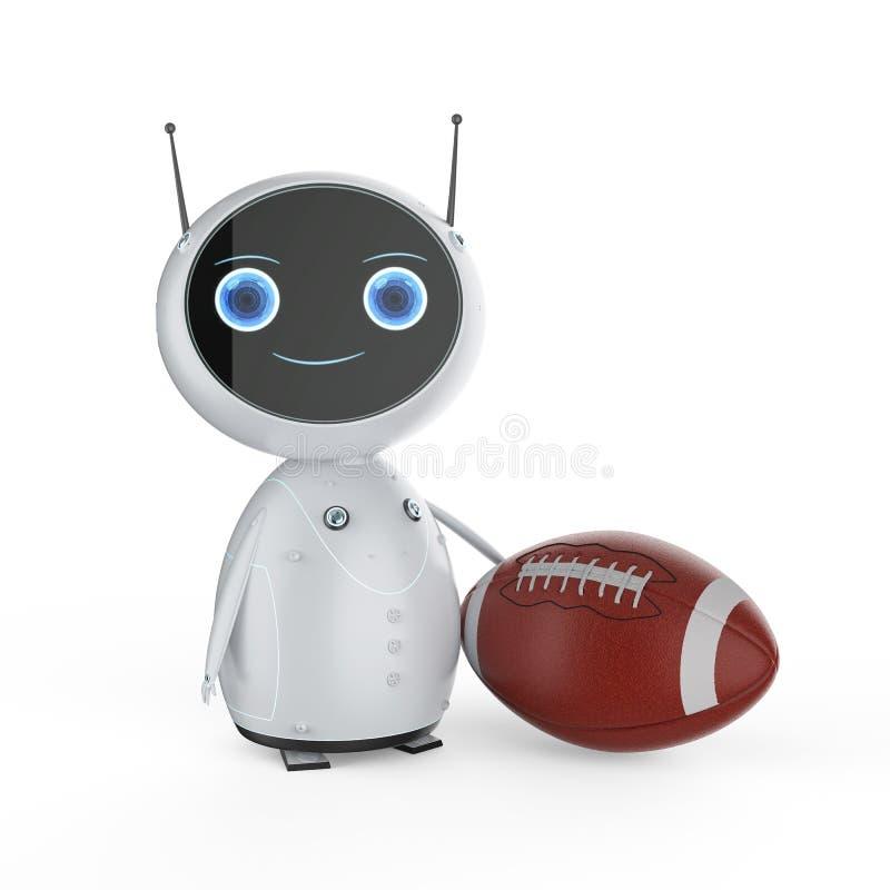有橄榄球球的机器人 皇族释放例证