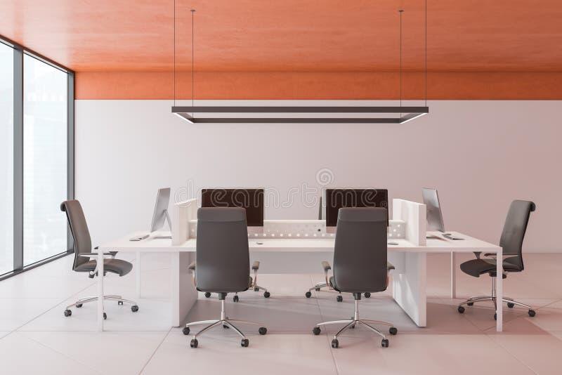 有橙色天花板的现代露天场所办公室 向量例证