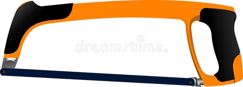 有橙色把柄的引形钢锯隔绝了 向量例证