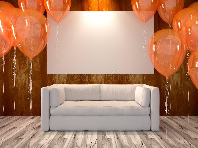 有橙色气球的客厅 库存例证