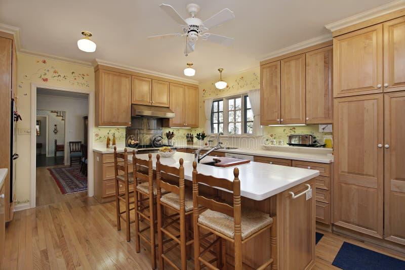 有橡木细木家具的厨房 库存照片
