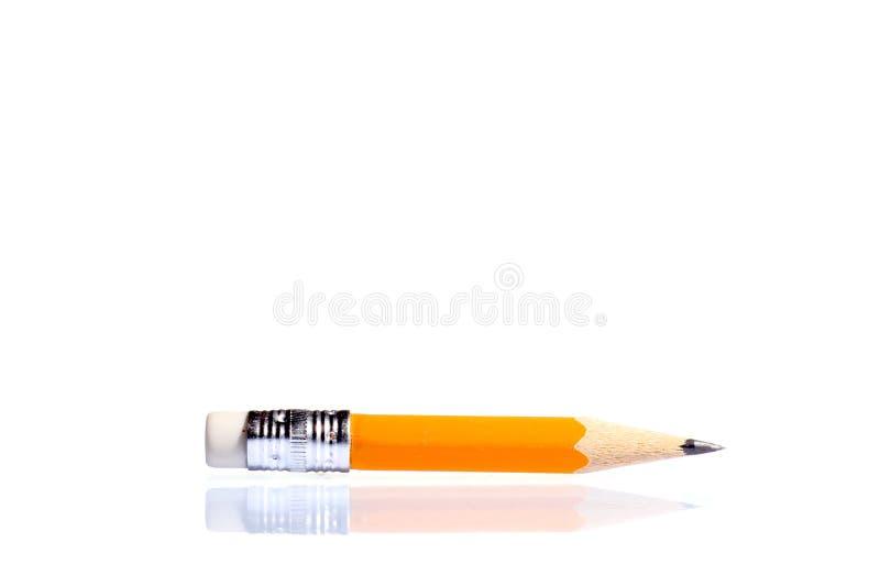 有橡皮擦的一支木锋利的铅笔 查出在白色 图库摄影