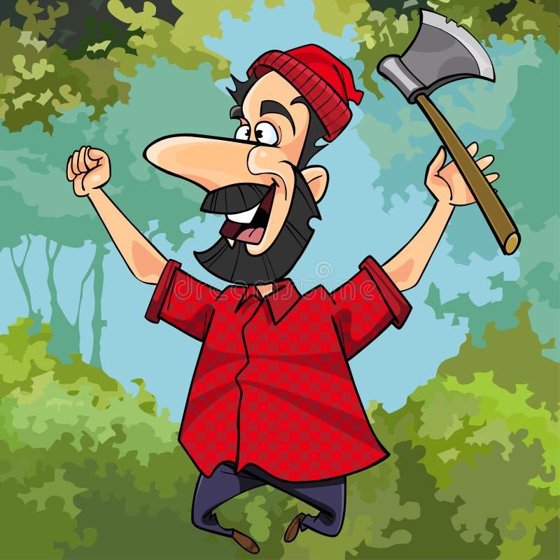 有欢悦跳跃在森林里的轴的动画片伐木工人 库存例证